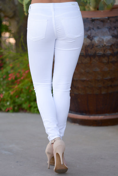 All Day Long Jeans - cute white skinny jeans, back, Closet Candy Boutique