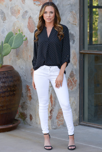 All Day Long Jeans - cute white skinny jeans, outfit, Closet Candy Boutique
