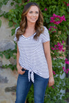 Just Kickin' It Top - cute casual Black/White stripe v-neck knot top, front, Closet Candy Boutique