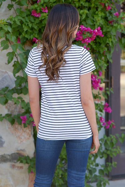 Just Kickin' It Top - cute casual Black/White stripe v-neck knot top, back, Closet Candy Boutique