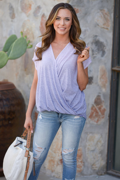 Whatever It Takes Top - Lavender ombre surplice top, front, Closet Candy Boutique