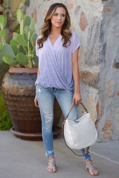 Whatever It Takes Top - Lavender ombre surplice top, outfit, Closet Candy Boutique