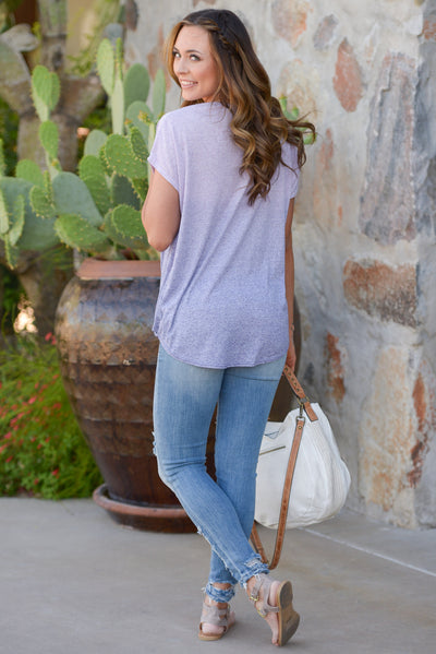 Whatever It Takes Top - Lavender ombre surplice top, back, Closet Candy Boutique