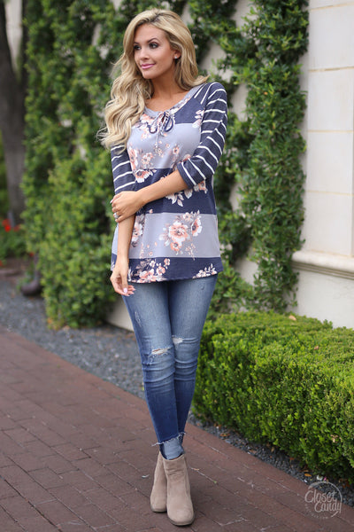Closet Candy Boutique, Stripe a Pose Top - Navy Floral - With cute jeans and Suede Booties