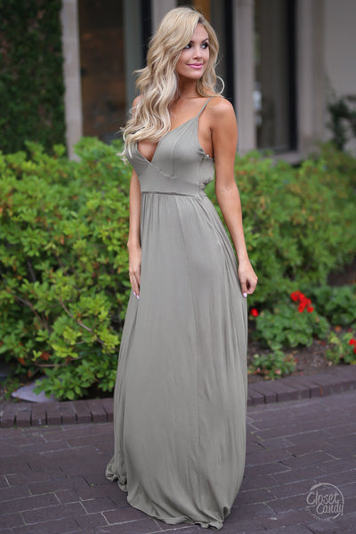 Slow Dance Maxi Dress - Olive sexy long dress closet candy boutique cute trendy fashion