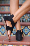Closet Candy Boutique, Aveline Sandals - Black - Trendy and cute suede gladiator sandals - back view