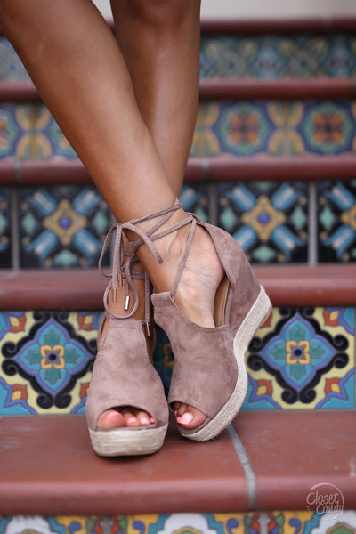 Keeping Secrets Wedges - Taupe lace up suede wedge trendy style shoes fashion blogger closet candy boutique