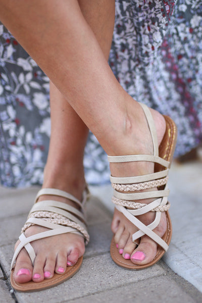 Summer Love Sandals - Stone strappy sandals, front, Closet Candy Boutique 3