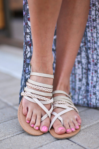 Summer Love Sandals - Stone strappy sandals, front, Closet Candy Boutique 1