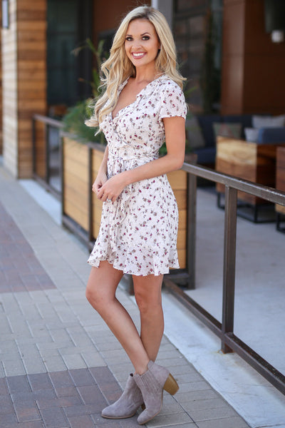 Dream Away Dress - Ivory floral print surplice dress, side, Closet Candy Boutique