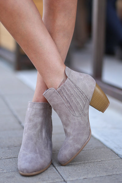 Savannah Booties - Taupe vegan leather heeled booties, front, Closet Candy Boutique