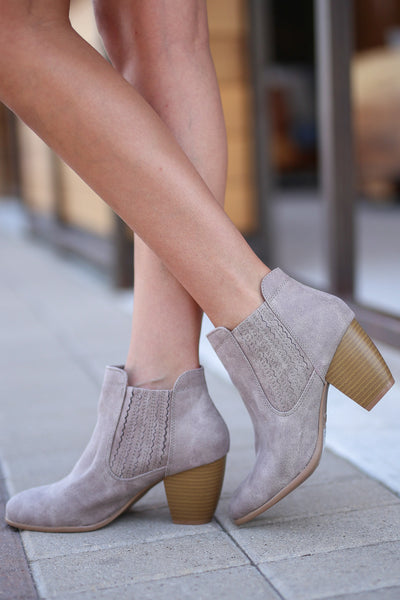 Savannah Booties - Taupe vegan leather heeled booties, side, Closet Candy Boutique
