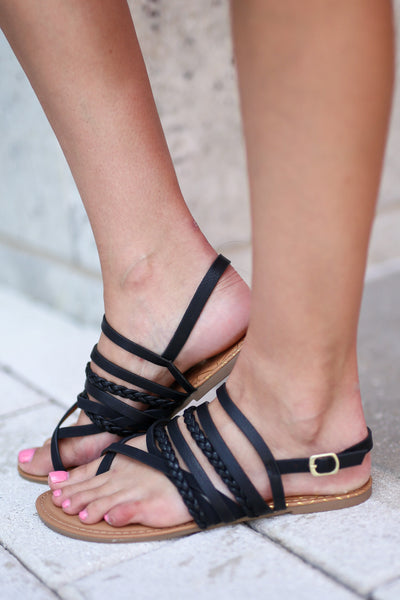 Summer Love Sandals -  Black strappy braided sandals, side, Closet Candy Boutique