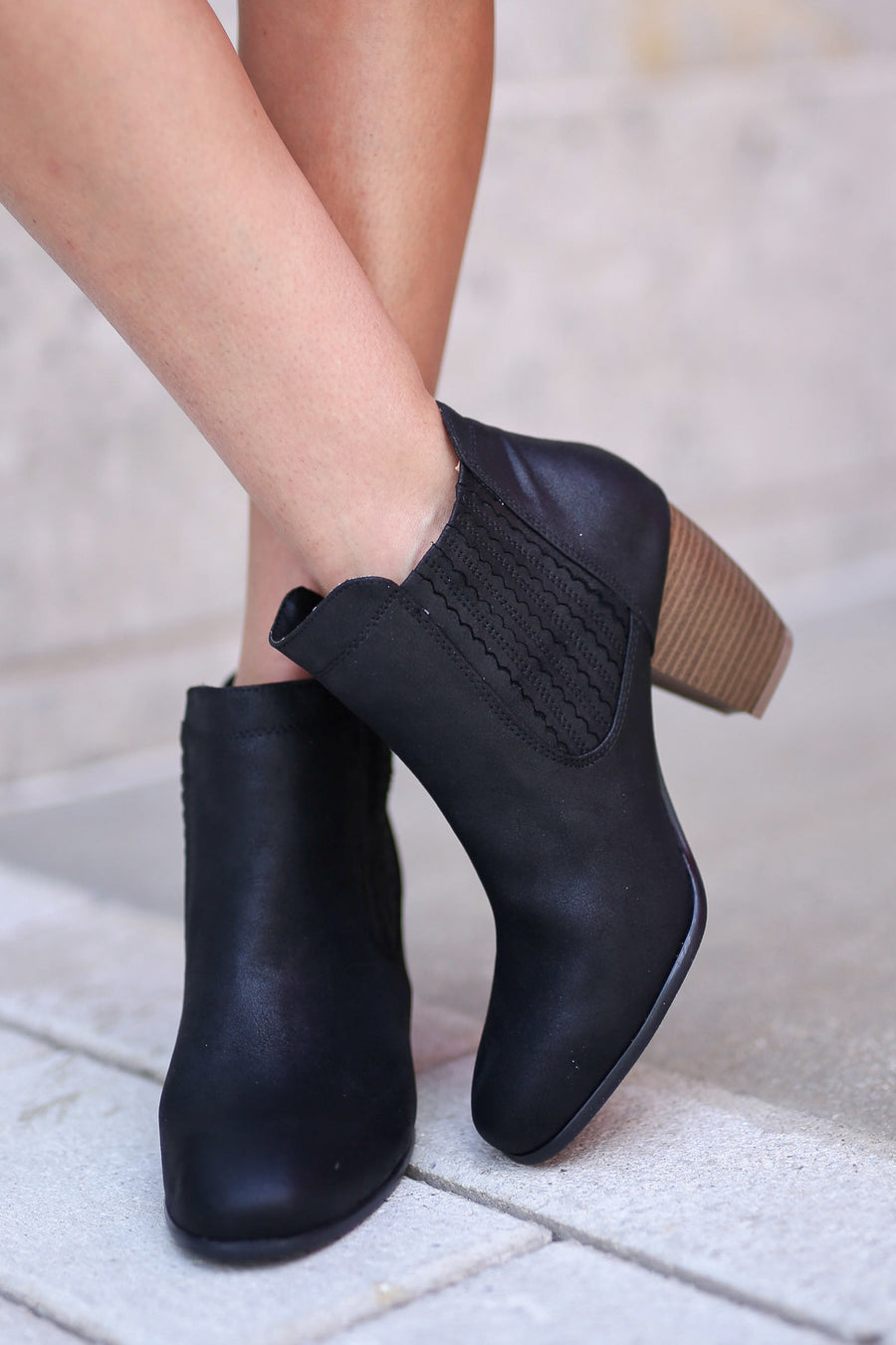 Savannah Booties - Black vegan leather heeled booties, side, Closet Candy Boutique