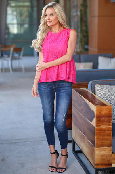 Make Some Memories Top - Fuchsia lace sleeveless top, front, Closet Candy Boutique
