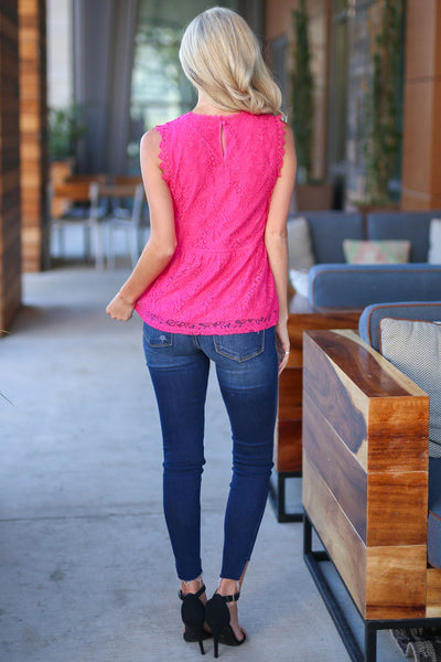 Make Some Memories Top - Fuchsia lace sleeveless top, back, Closet Candy Boutique