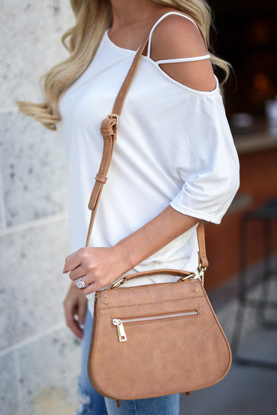 Khloe Saddle Bag Mini - Cognac womens purse closet candy boutique