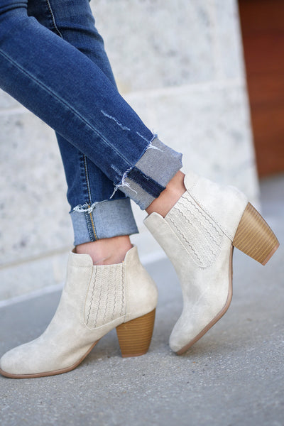 Savannah Booties - Stone vegan leather ankle booties, side, Closet Candy Boutique
