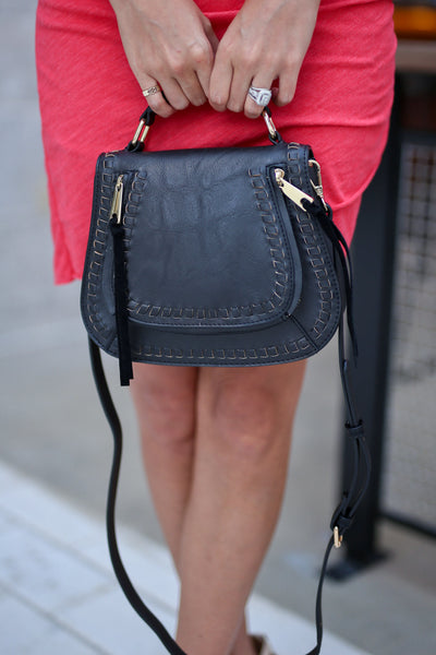 Khloe Saddle Bag Mini - Black vegan leather saddle bag, front, Closet Candy Boutique