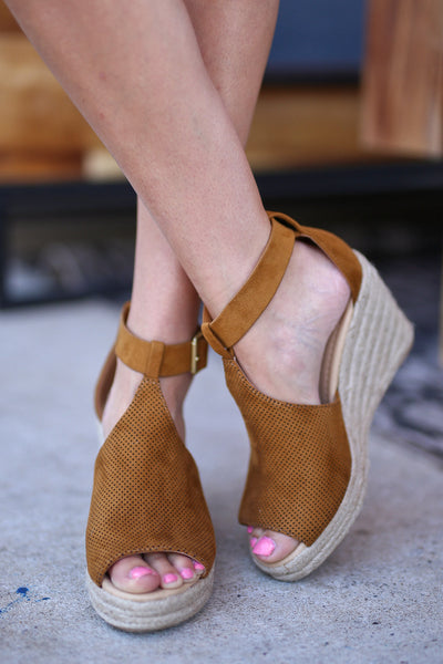 One Step Ahead Wedges - Tan peep toe wedges, front, Closet Candy Boutique