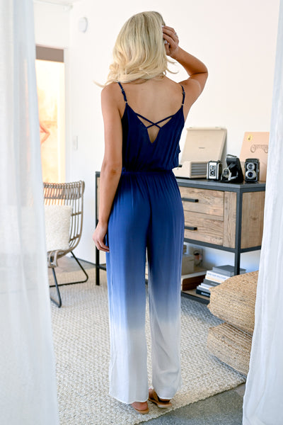 Capture The Moment Jumpsuit - Navy womens trendy ombre jumpsuit with adjustable spaghetti straps closet candy back