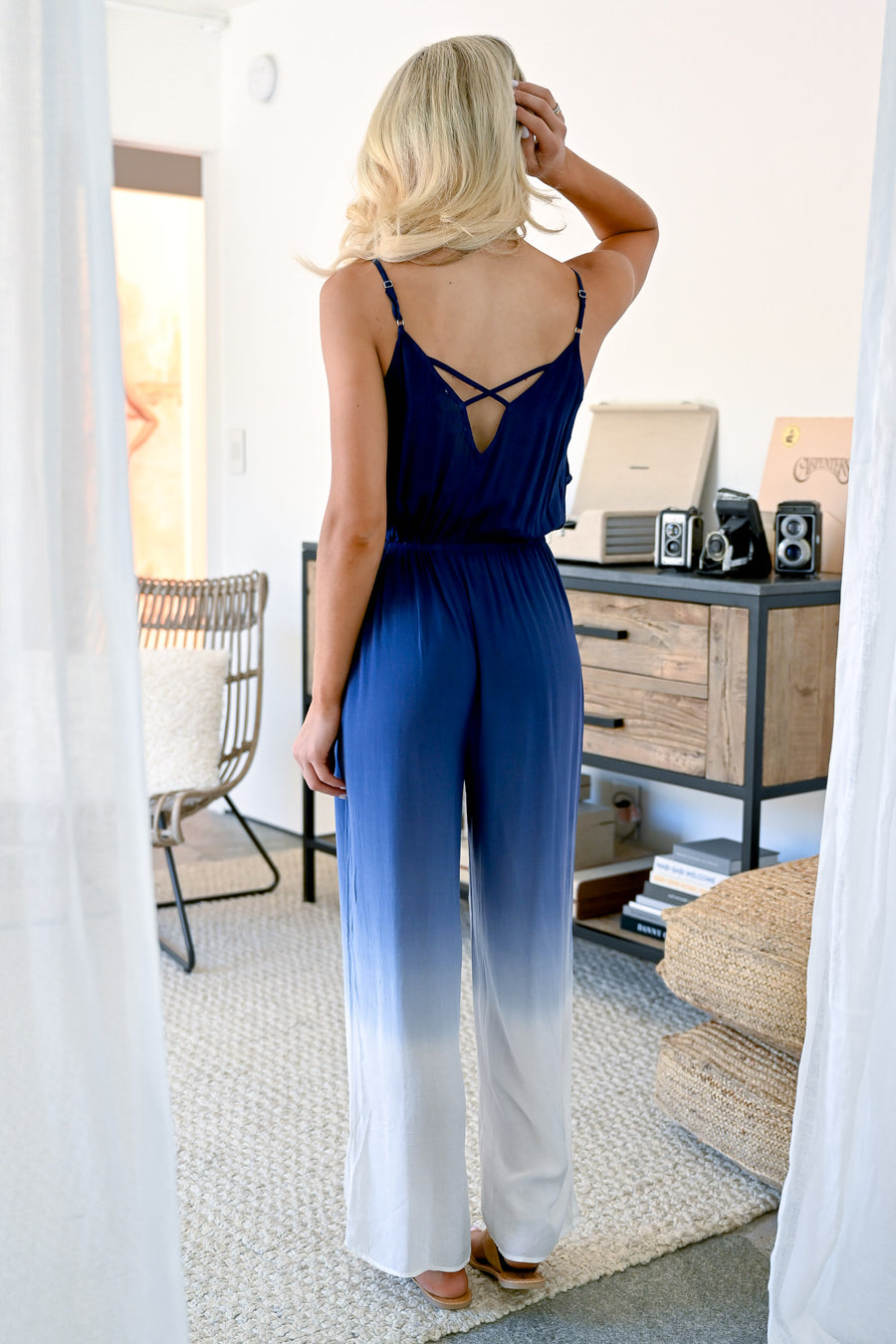 Capture The Moment Jumpsuit - Navy womens trendy ombre jumpsuit with adjustable spaghetti straps closet candy front