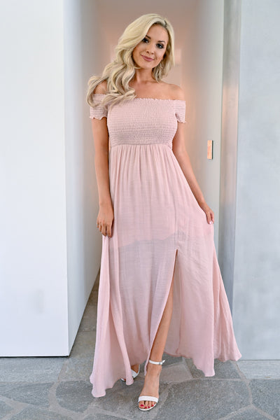 Stop I'm Blushing Maxi Dress - Blush womens elegant off the shoulder long dress closet candy 3