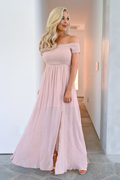 Stop I'm Blushing Maxi Dress - Blush womens elegant off the shoulder long dress closet candy 1