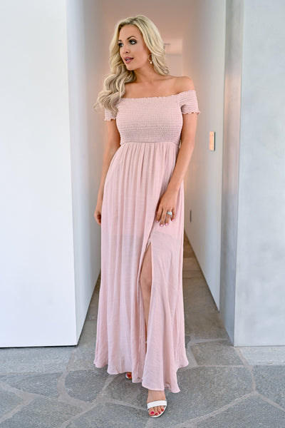 Stop I'm Blushing Maxi Dress - Blush womens elegant off the shoulder long dress closet candy 2