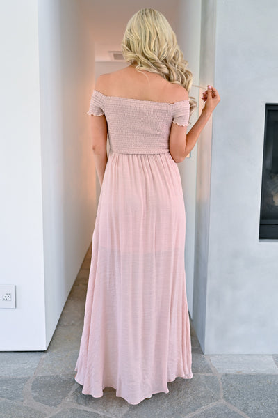 Stop I'm Blushing Maxi Dress - Blush womens elegant off the shoulder long dress closet candy 5