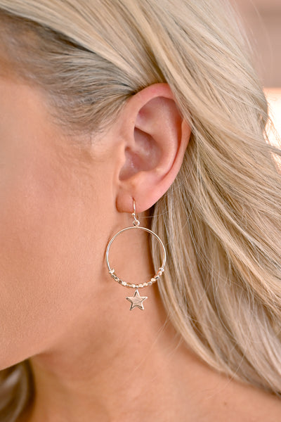 Oh My Stars Hoop Earrings - Gold womens trendy star earrings closet candy 1