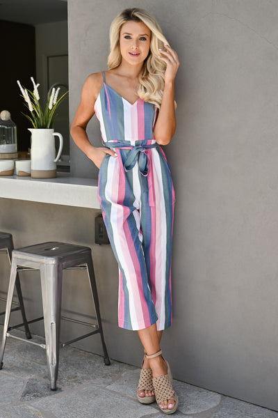 Jump Right In Striped Jumpsuit - Multi womens trendy tie waist pastel striped jumper closet candy front 2