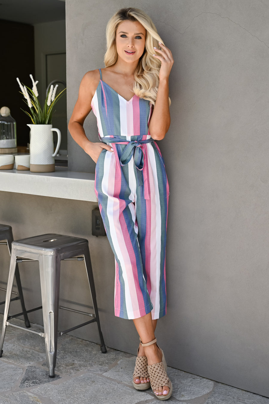 Jump Right In Striped Jumpsuit - Multi womens trendy tie waist pastel striped jumper closet candy front