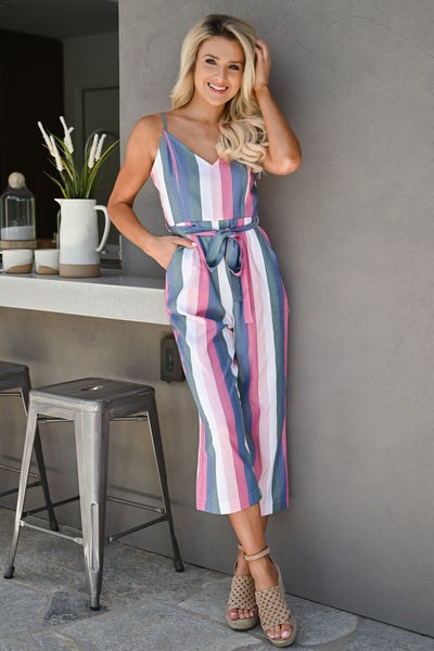 Jump Right In Striped Jumpsuit - Multi womens trendy tie waist pastel striped jumper closet candy front 3