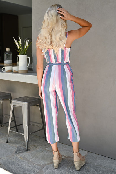 Jump Right In Striped Jumpsuit - Multi womens trendy tie waist pastel striped jumper closet candy back