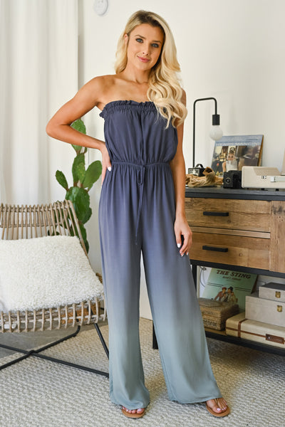 In The Record Room Ombre Jumpsuit - Dusty Blue womens trendy strapless ombre jumper closet candy front