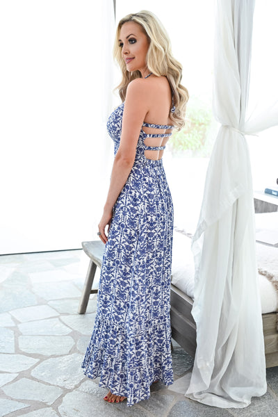Walk With Me Maxi Dress - Blue/Ivory womens trendy strappy cut out back long printed dress closet candy side