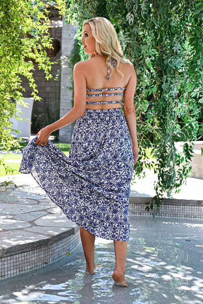 Walk With Me Maxi Dress - Blue/Ivory womens trendy strappy cut out back long printed dress closet candy back 2