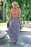 Walk With Me Maxi Dress - Blue/Ivory womens trendy strappy cut out back long printed dress closet candy back