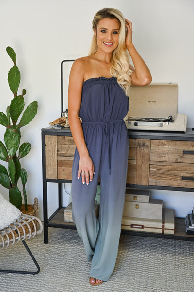 In The Record Room Ombre Jumpsuit - Dusty Blue womens trendy strapless ombre jumper closet candy front 2