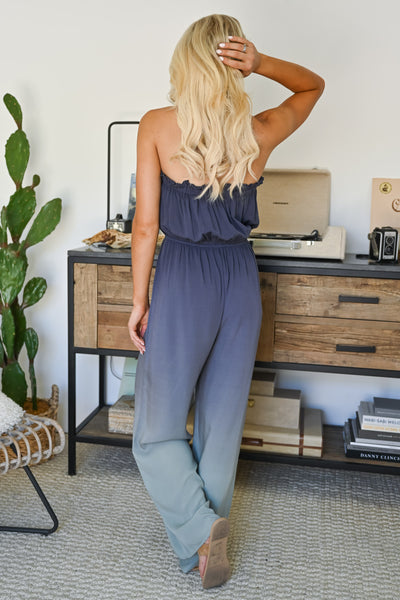In The Record Room Ombre Jumpsuit - Dusty Blue womens trendy strapless ombre jumper closet candy back