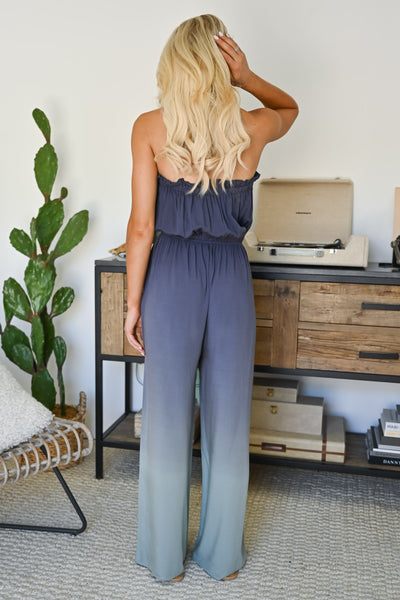 In The Record Room Ombre Jumpsuit - Dusty Blue womens trendy strapless ombre jumper closet candy back 2