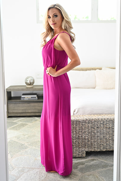 Three Wishes Maxi Dress - Magenta womens trendy chiffon halter neck long dress closet candy side