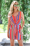 Don't Worry Be Happy Romper - Rainbow womens trendy colorful striped knot front romper closet candy close