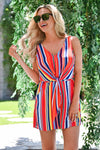 Don't Worry Be Happy Romper - Rainbow womens trendy colorful striped knot front romper closet candy close 2