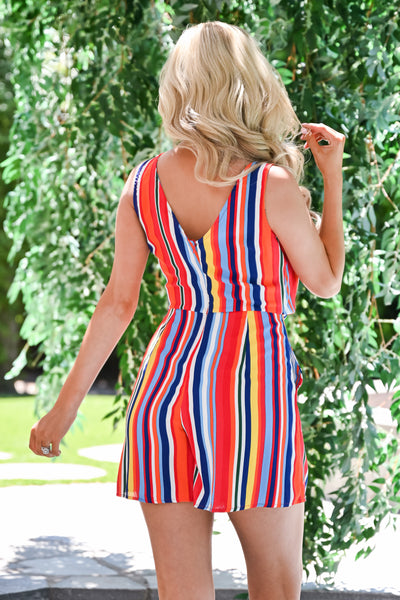 Don't Worry Be Happy Romper - Rainbow womens trendy colorful striped knot front romper closet candy back