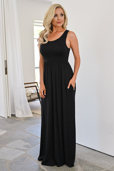 Back To Where It Began Maxi Dress - Black womens trendy long black dress with crochet detail closet candy side