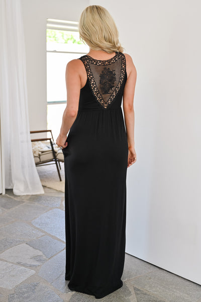 Back To Where It Began Maxi Dress - Black womens trendy long black dress with crochet detail closet candy back