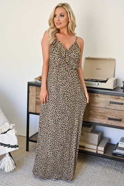 Eye Spy Maxi Dress - Leopard womens trendy spotted long dress with ruffle detail closet candy front 2