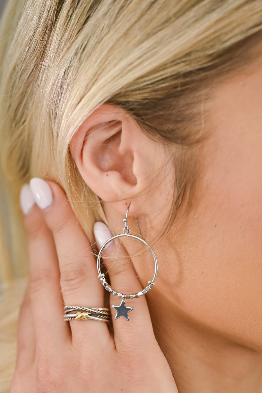Oh My Stars Hoop Earrings - Silver womens trendy hoop earring with stars closet candy 1